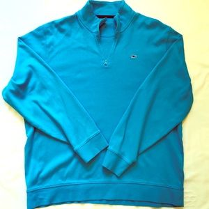 Vineyard Vines Men's Blue Half Zip Whale Pullover